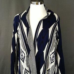 Medium oversized long wrap tribal cardigan
